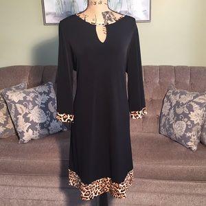 Gorgeous black and leopard trim dress